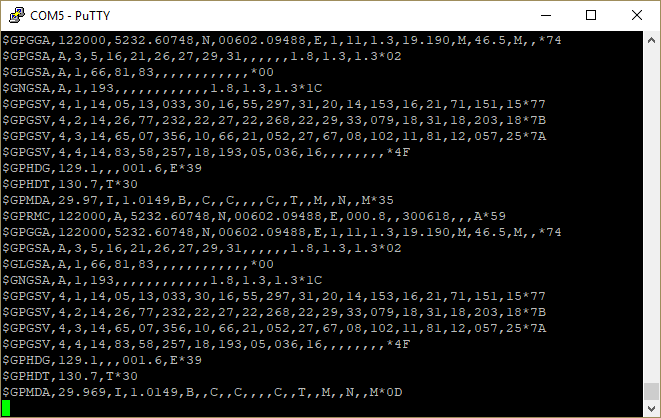 Logging incoming serial data using PuTTY