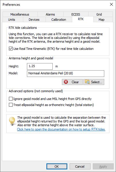 Using RTK tide corrections - Eye4Software Hydromagic - Hydrographic