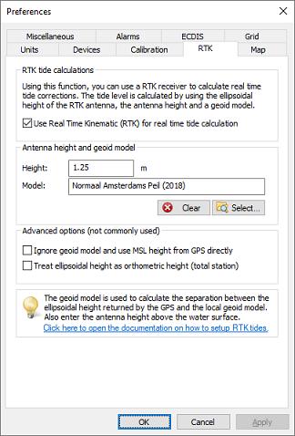 Using RTK tide corrections - Eye4Software Hydromagic