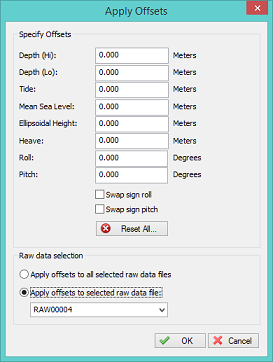 Apply offsets to raw data files