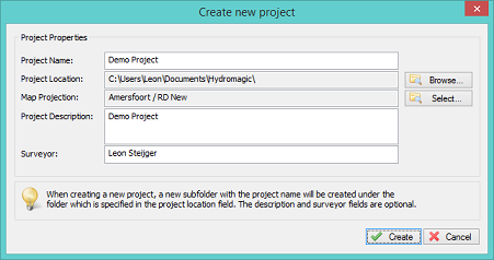 Create a new Hydromagic project