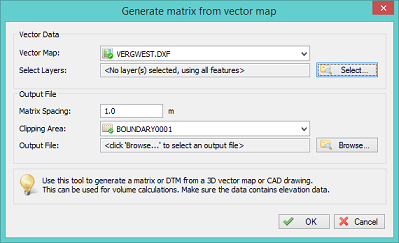 Generate matrix from vector map dialog