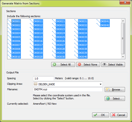 Generate matrix from sections dialog