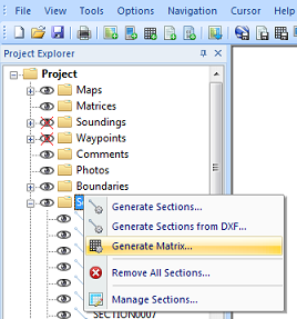 Select the generate matrix option from the sections folder