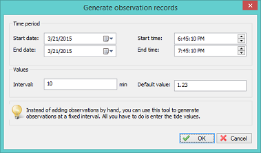 Generate tide observations with the same level in a specified timespan