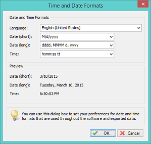 Date and Time formats
