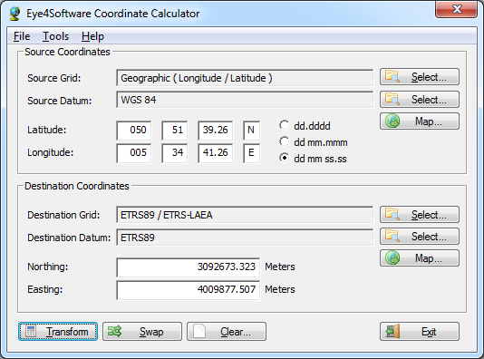 Click to view Eye4Software Coordinate Calculator screenshots